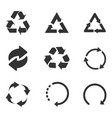 recycle icon set black on white background vector image vector image