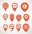 Red map signs vector image vector image