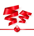 red ribbons in shape of two hearts vector image