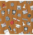 School seamless pattern on striped bacground vector image