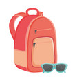 schoolbag with summer sunglasses accessory vector image vector image