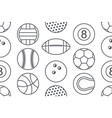 seamless pattern with collection sports balls vector image vector image
