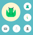 set of fantasy icons flat style symbols with orc vector image