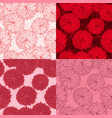set of four seamless red floral pattern vector image vector image