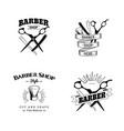 set retro barber shop emblems vector image vector image