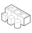 Shape sorter toy icon outline style vector image