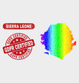 spectrum mosaic sierra leone map and grunge gdpr vector image vector image