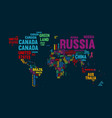 text world map country name typography design vector image vector image