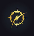 thunder bolt gold logo vector image