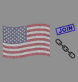 united states flag mosaic chain and grunge join vector image vector image