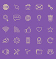 website line color icons on purple background vector image