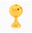 winner bowling cup award golden trophy logo vector image