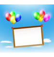 wooden frame hanging on balloons vector image
