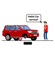 Worried driver calling roadside assistance to help vector image vector image