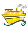yellow steam ship on the sea or color vector image vector image