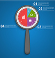 Abstract infographic with a magnifying glass vector image vector image