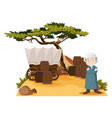 arab man stands by the wagon vector image vector image