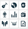 audio icons set with radio microphone vinyl and vector image