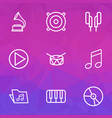 audio outlines set collection of circle melody vector image