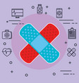 bandages with medical healthcare icons vector image vector image