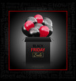 black friday advertising poster with gift box and vector image