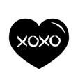 black heart shining icon xoxo phrase sketch vector image vector image