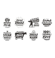 Butcher shop labels Meat beef pork lamb set vector image vector image