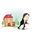 Cartoon character with iron chain and house vector image