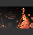 christmas and new year copper 3d pine tree card vector image