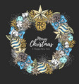 christmas holiday decorative wreath vector image