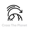 cross planet icon editable line vector image vector image