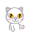 cute cat sticker isolated on white background vector image
