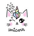 cute cat unicorn drawn hand vector image