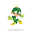 cute funny superhero boy character in a green vector image vector image