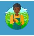 Farmer holding corn vector image vector image