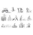 farming business rural economy concept sketch vector image