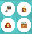 flat icon purse set of purse money saving and vector image