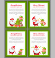 four merry christmas and happy new year banners vector image vector image