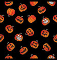 fun halloween pumpkins seamless repeating pattern vector image