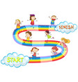 game template with many kids on rainbow vector image vector image