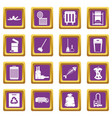 garbage thing icons set purple vector image vector image