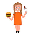 happy girl with a burger and a sausage vector image