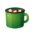 hot chocolate with white marshmallow in green mug vector image