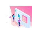 isometric young people stand screen creating vector image