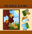 jigsaw puzzle game with happy wild animals vector image