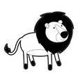lion cartoon with black sections silhouette with vector image