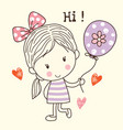 little girl and balloon vector image vector image