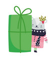 merry christmas cute bear with sweater and gift vector image vector image