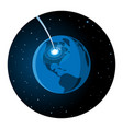 meteorite impacting earth round icon vector image vector image