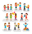 people give gifts men and women do surprises vector image vector image